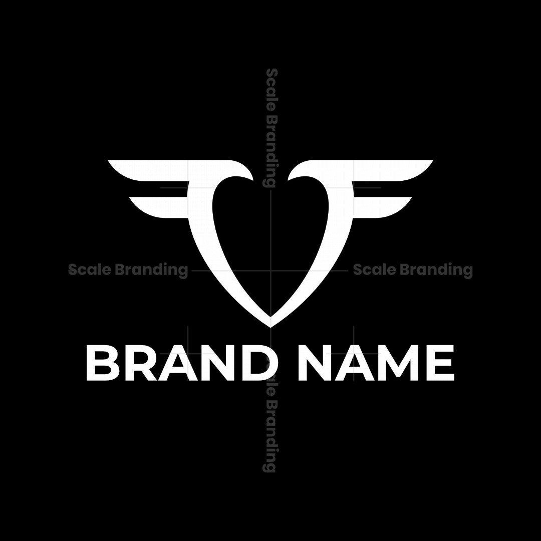 Wing Double Letter F Heart Logo