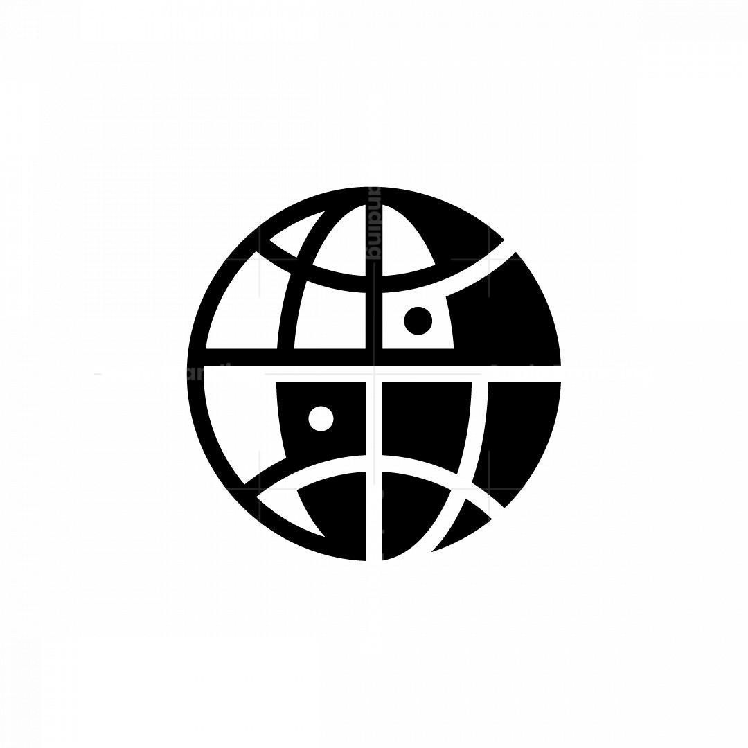 Yin Yang Globe Logo