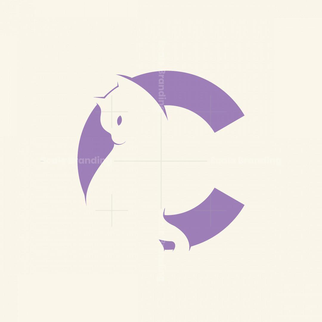 Letter C Cat Animal Logo