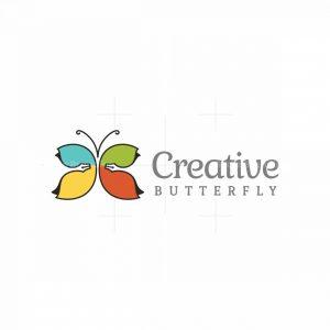 Creative Butterfly With Pen Nib Logo