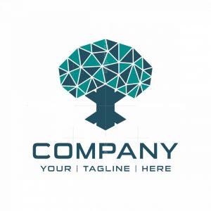 Simple Poly Geometric Tree Logo