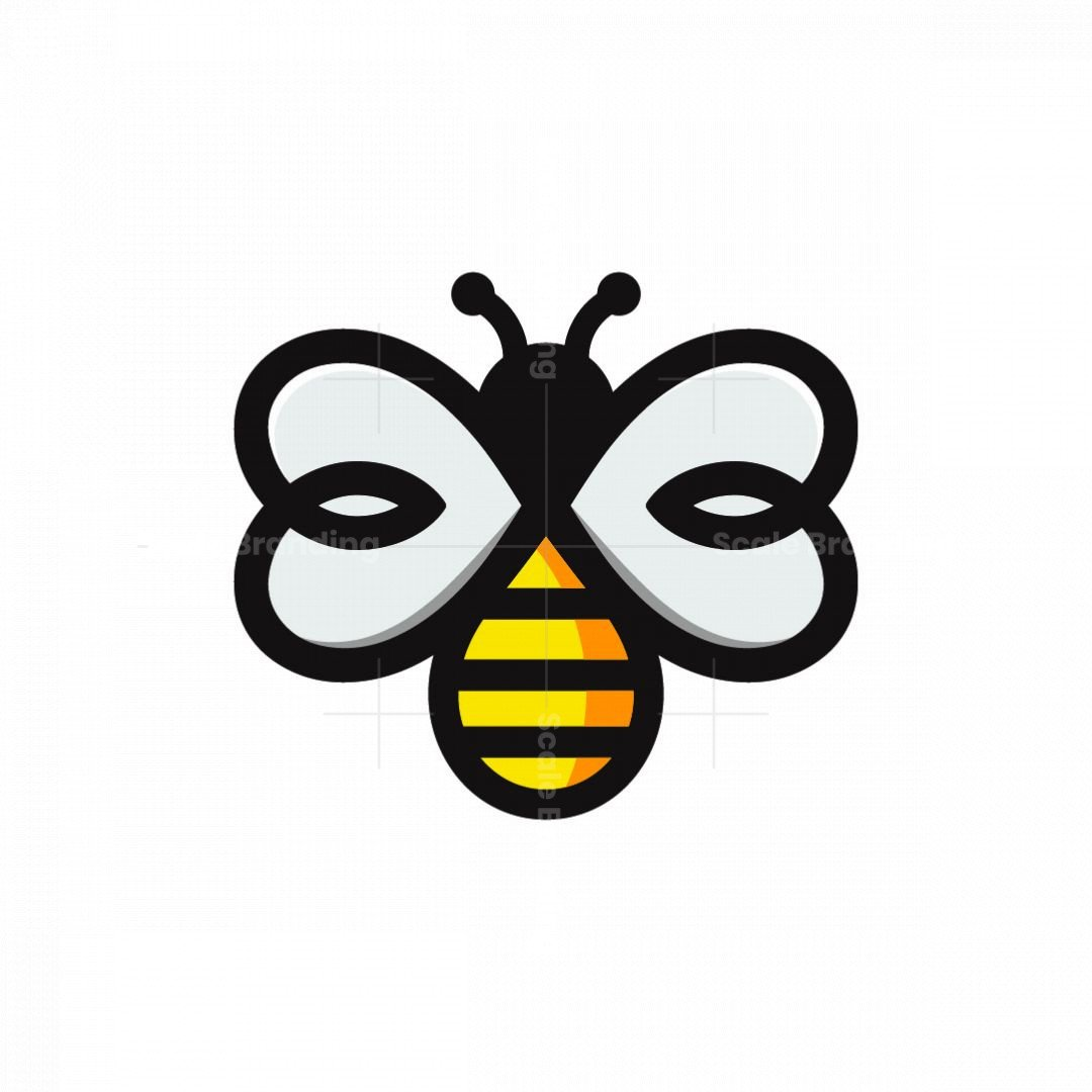 Heart Winged Bee Logo