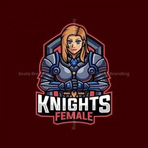 Knight Female Mascot Logo