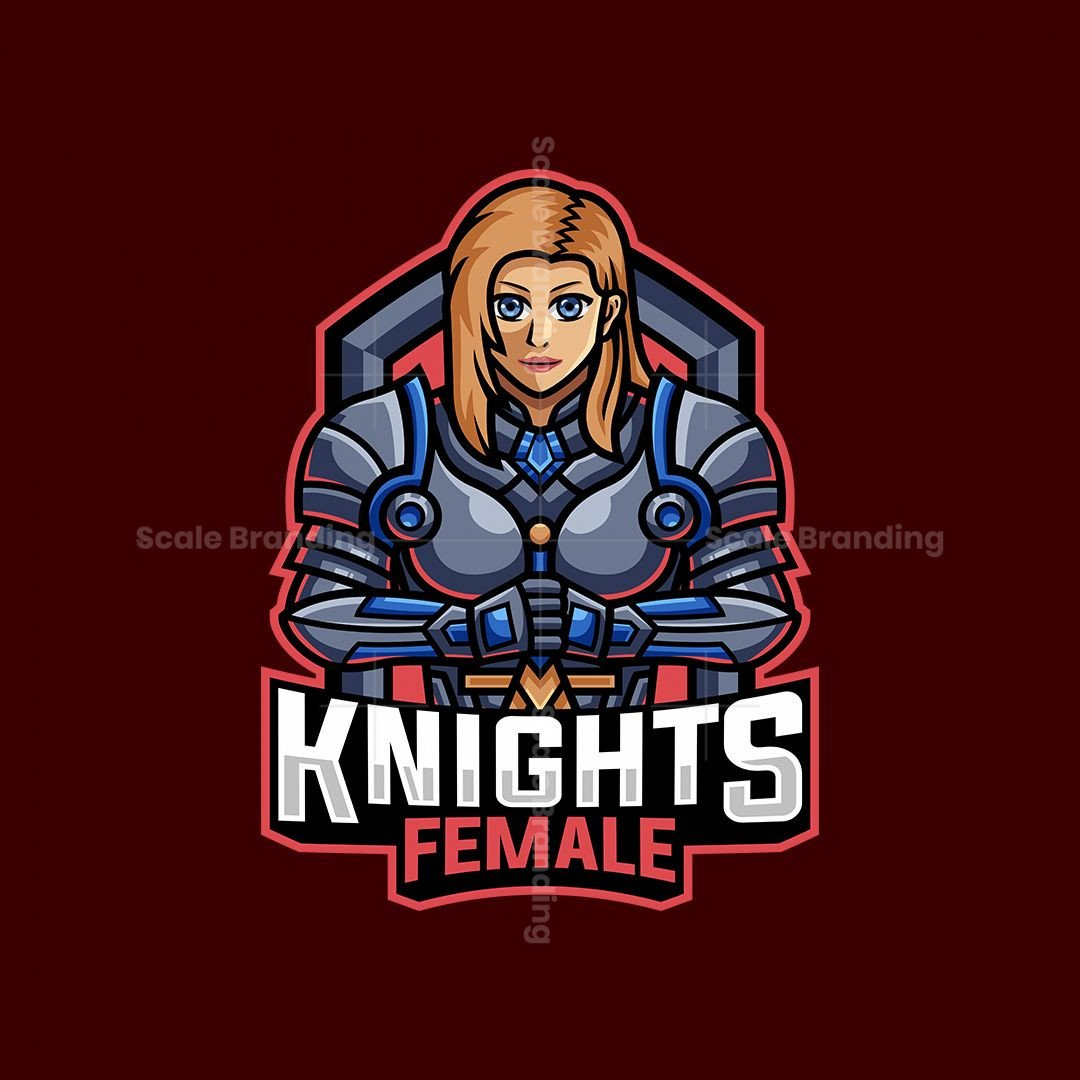Knight Female Mascot Logo