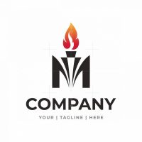 Letter M Torch With Fire Or Flames Logo