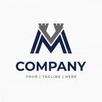 Letter M Vm Mv Tower Logo