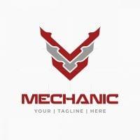 Letter V Tech Mechanic Logo