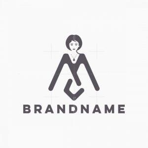 M Letter Lady Logo
