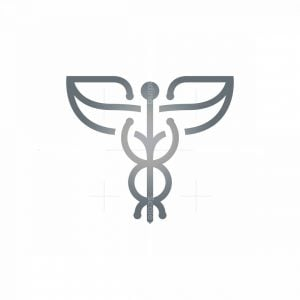 Winged Silver Caduceus Logo