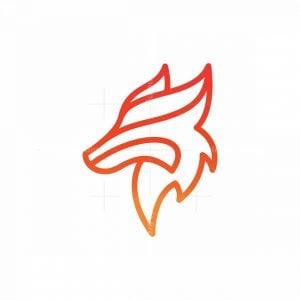 Abstract Monoline Wolf Logo