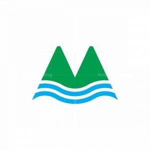 Letter M Mountain River Logo