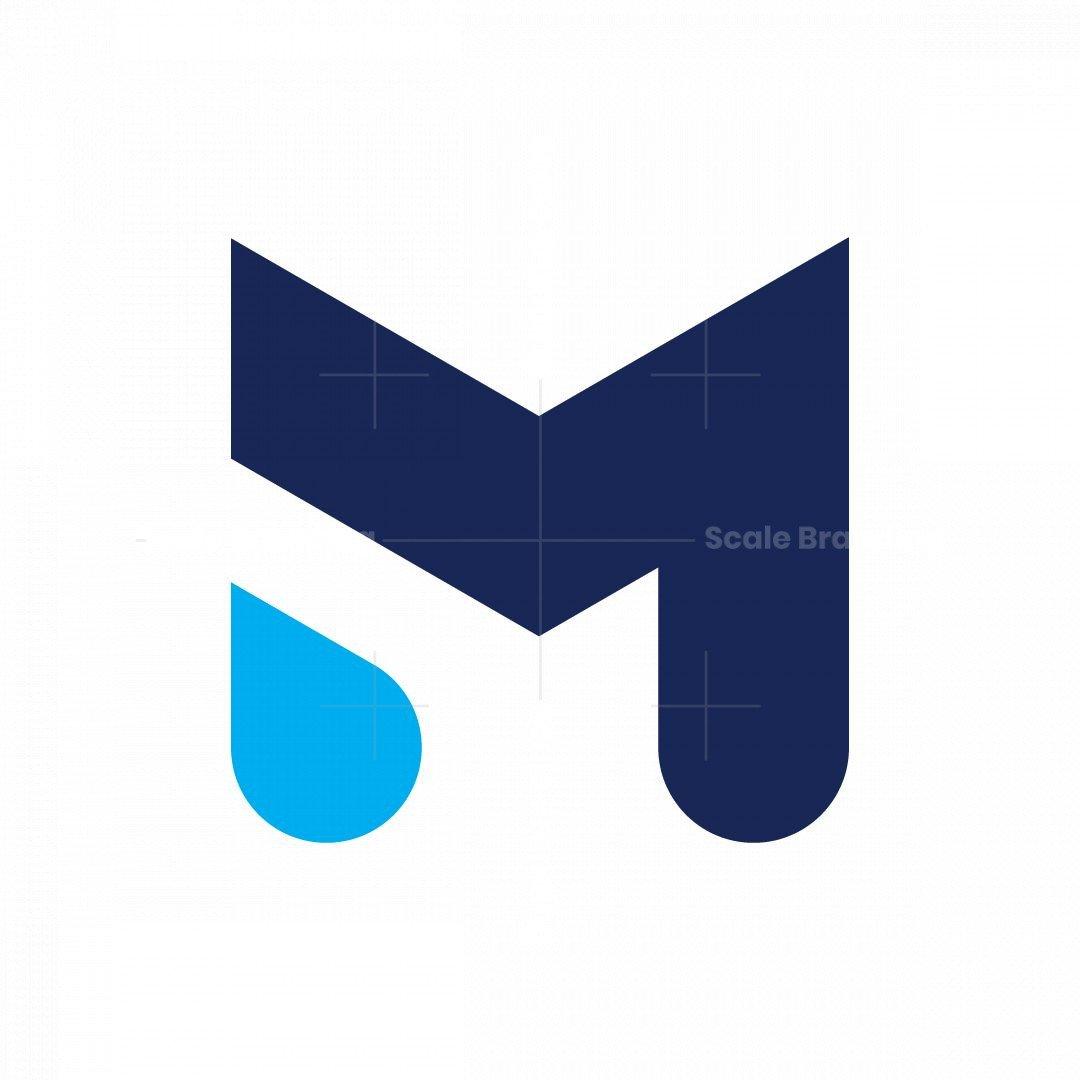 Letter M Water Drop Logo