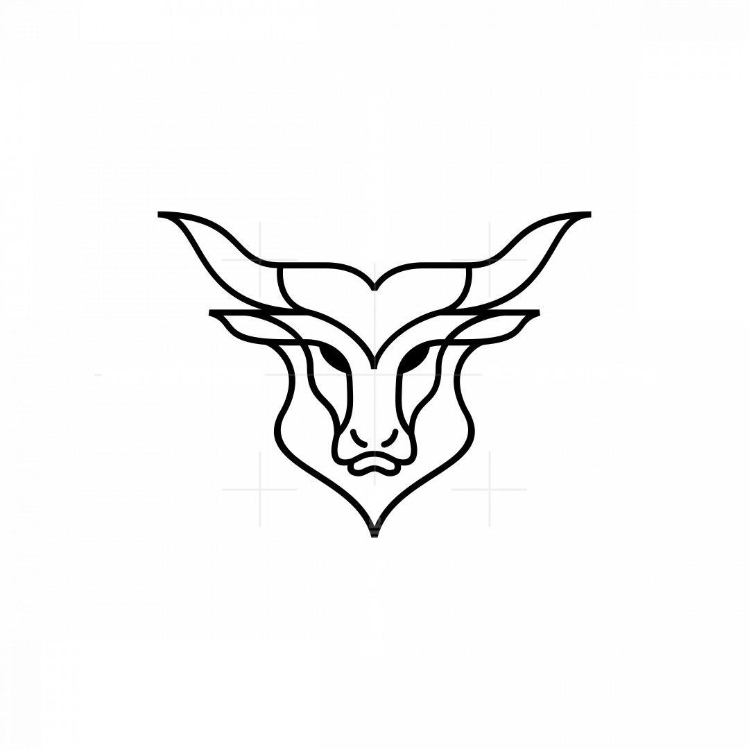 Monoline Bull Head Logo