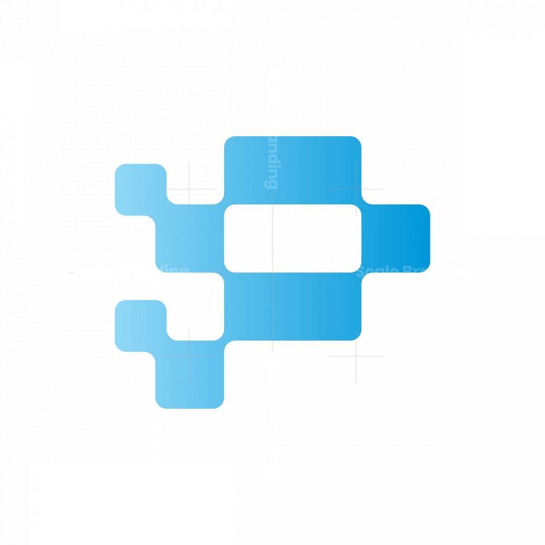 P Pixel Monogram Logo