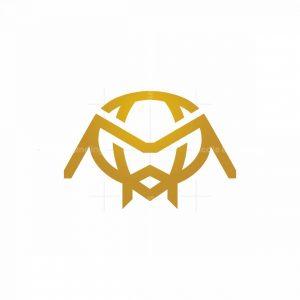 Golden Bee Logo Bee Head Logo