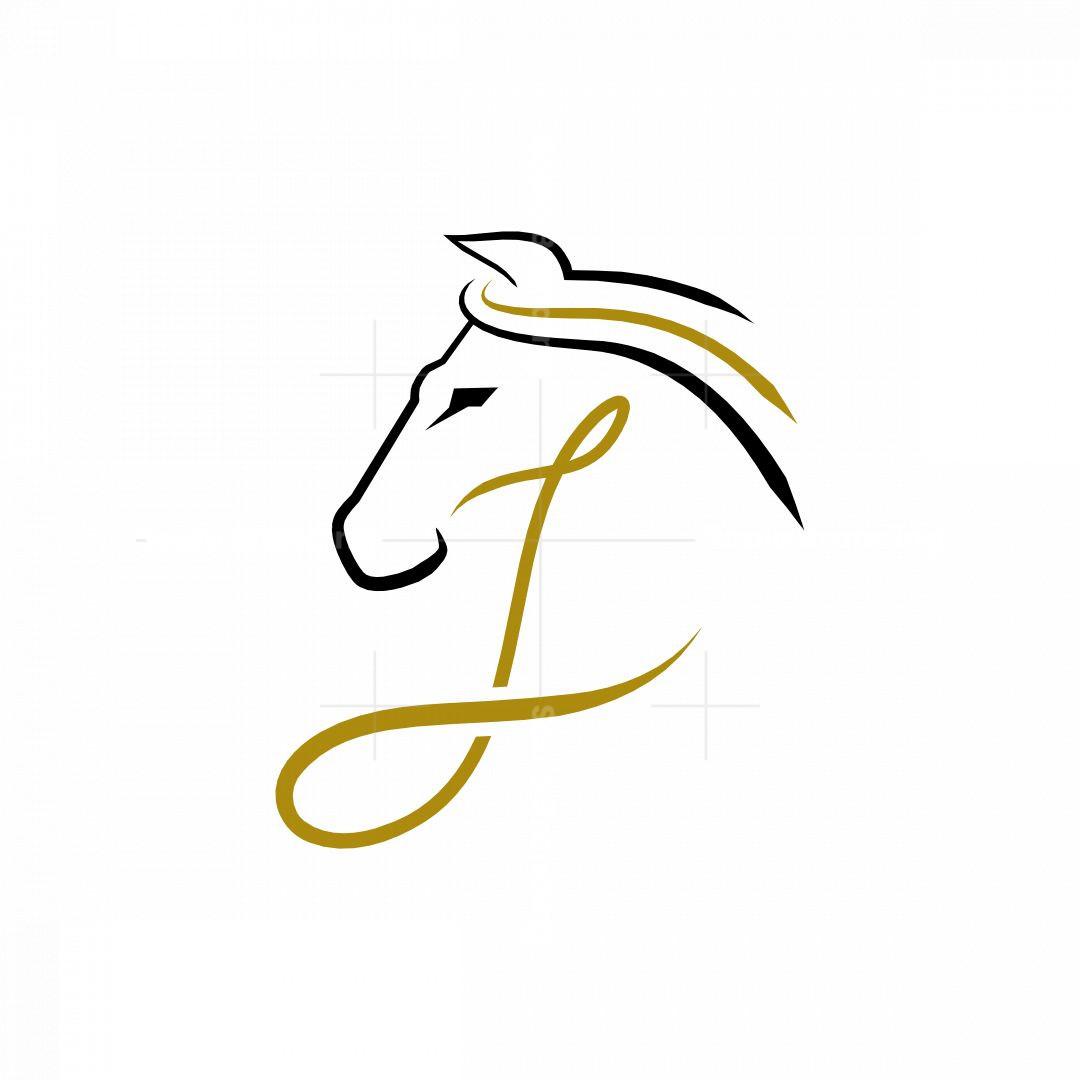 Letter J Horse Logo