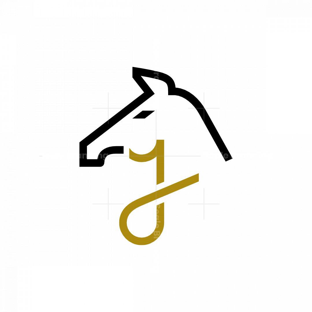 Letter J Geometric Horse Logo