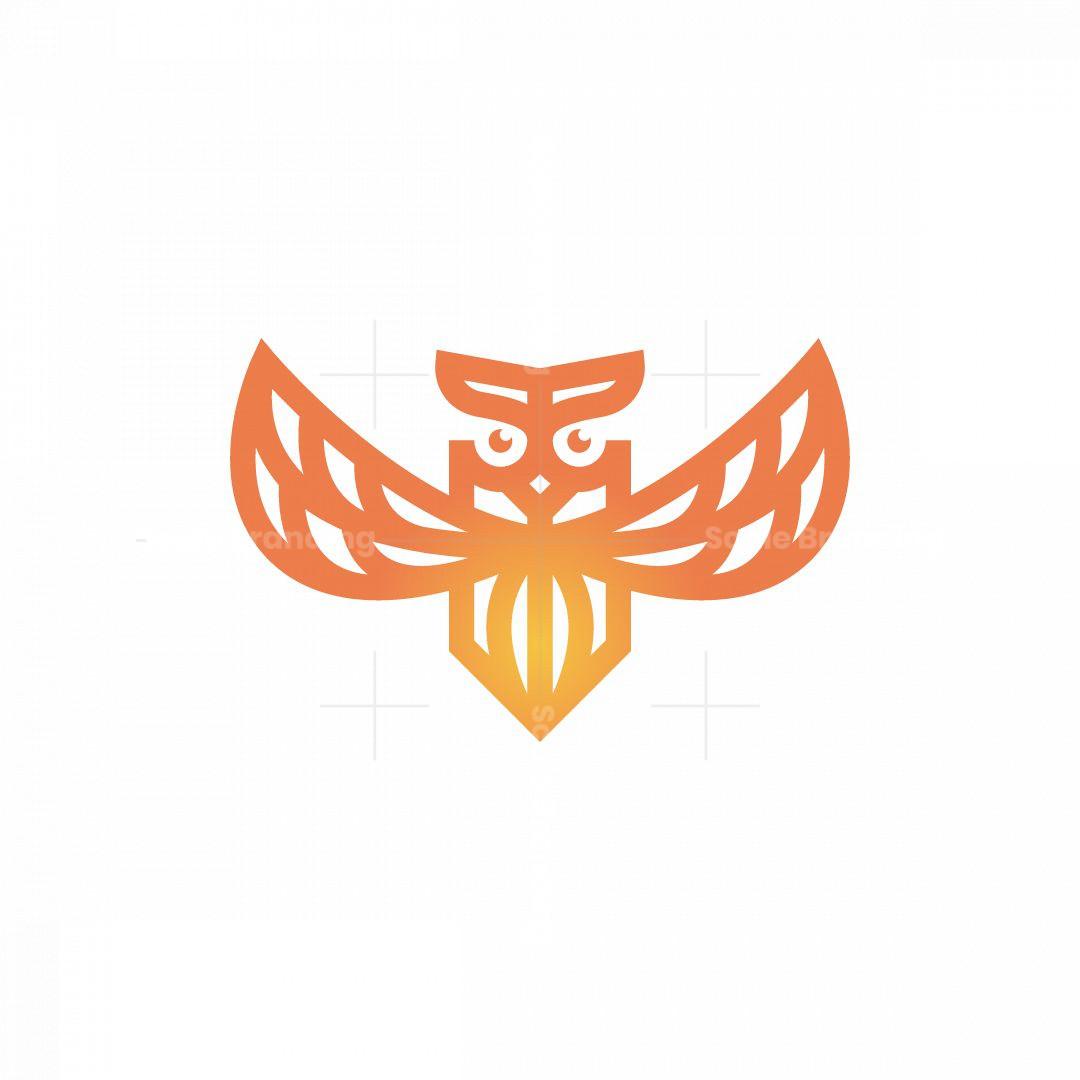 Orange Flying Owl Logo Owl Logo
