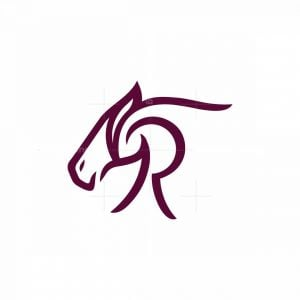 Letter R Horse Head Logo
