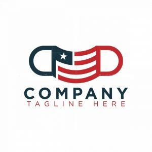American Flag Face Mask Logo