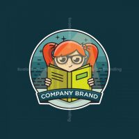 Book Reading Girl Logo