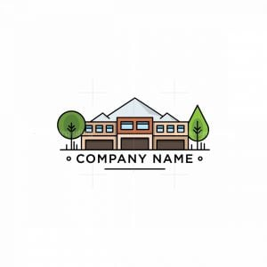 Buildings With Mountains And Trees Logo