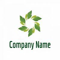 Organic Green Leaves Circle Logo