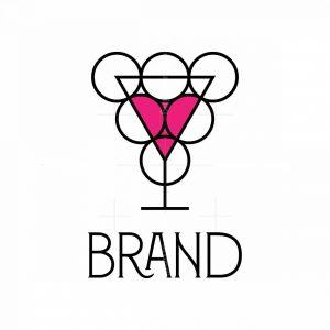 Wine Glass And Grape Logo