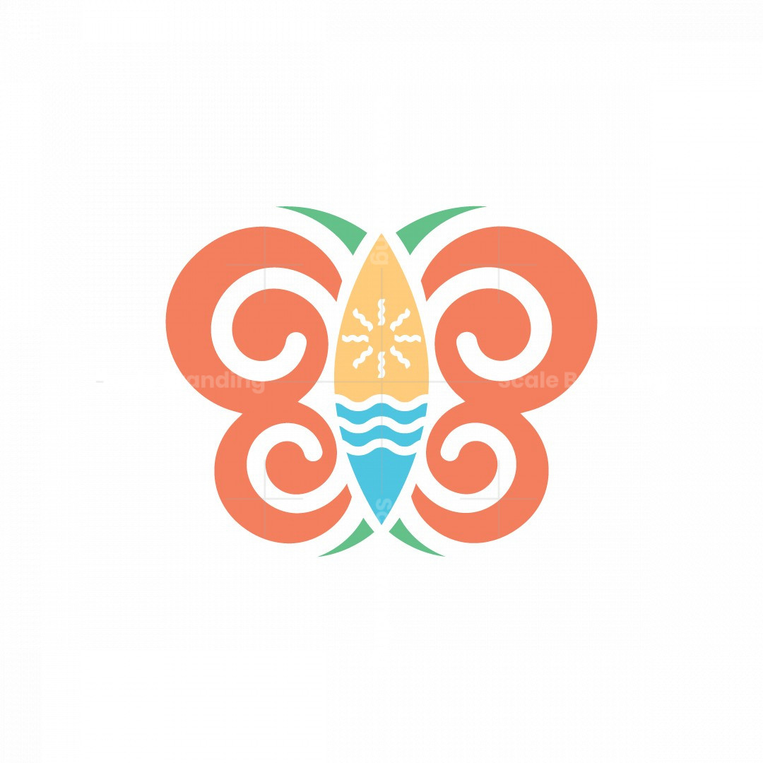 Butterfly And Surfboard Logo.