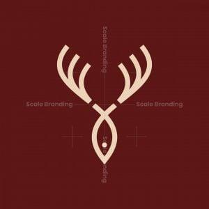 Deer Antlers Fish Logo