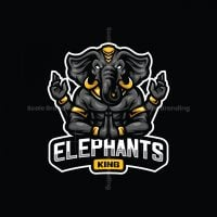 Elephants King Mascot Logo