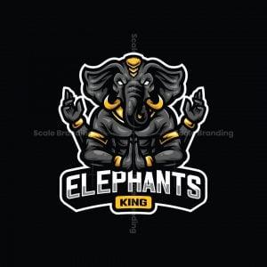 Elephants King Mascot Logo
