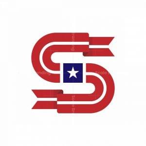 Letter S Star Flag Logo