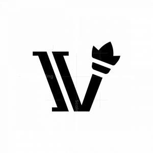 Letter V Torch Logo