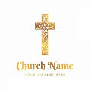 Golden Church Cross Logo