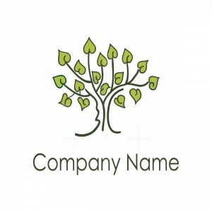 Tree With Heart Shaped Leaves Logo