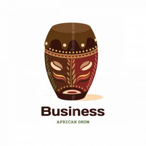 African Drum Symbol Logo