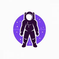 Astronaut In Space Mascot Logo