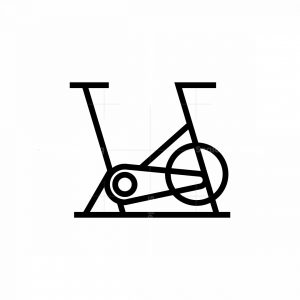 Line Art Elliptical Bike Icon Logo