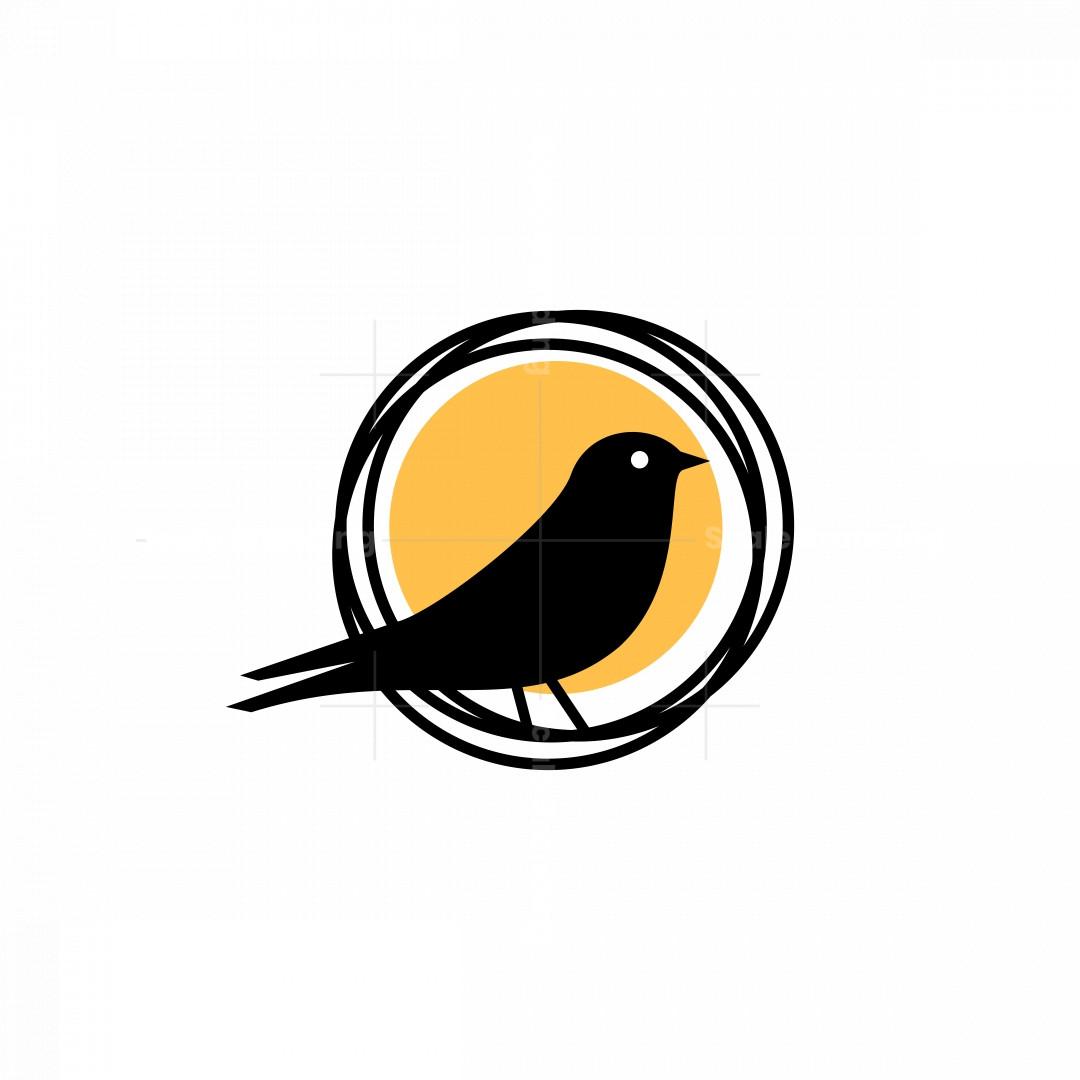 Bird And Nest Icon Logo