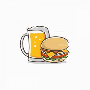 Cartoon Cheeseburger And Beer Logo