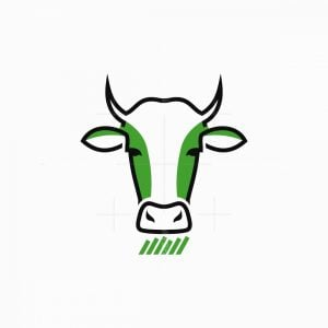 Cow With Grass Icon Logo