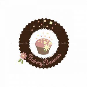 Cupcake Spring Flowers Bakery Symbol Logo