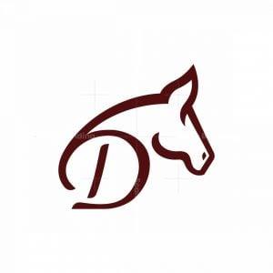 Letter D Horse Logo Stallion Logo