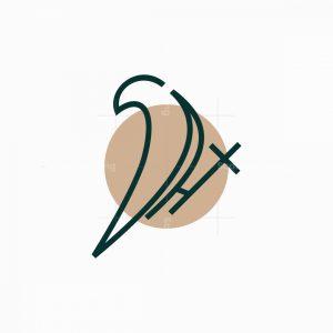 Line Art Dove And Cross Logo