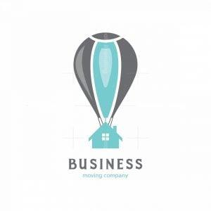Flying Air Balloon Home Symbol Logo