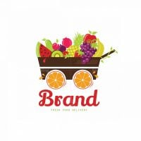 Fruit Wagon Home Delivery Service Symbol Logo