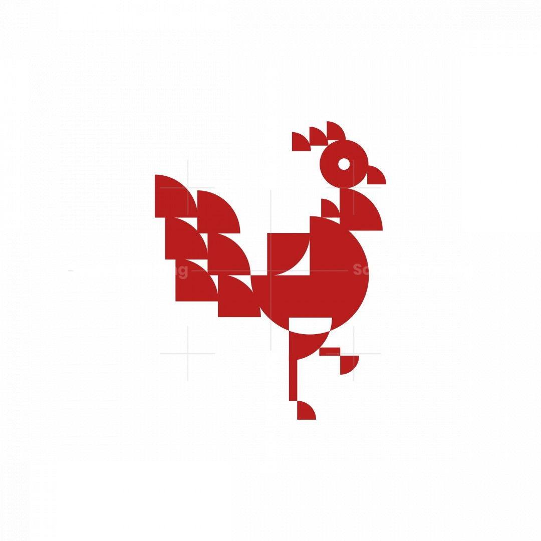 Geometric Rooster Icon Logo