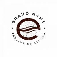 Letter E Coffe Bean Logo