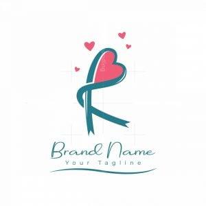 Letter R Love Ribbon Logo